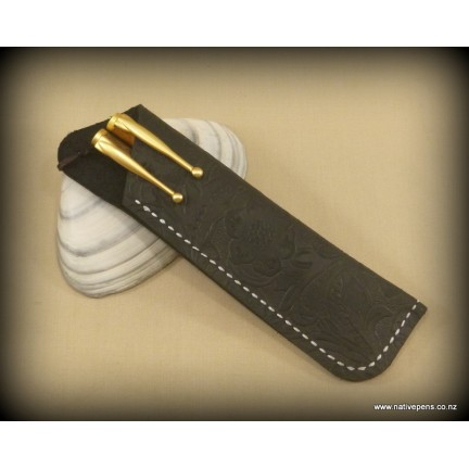 Handmade Pen Sleeve Black - Leather Patterned
