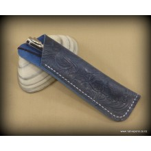 Handmade Pen Sleeve Blue - Leather Patterned